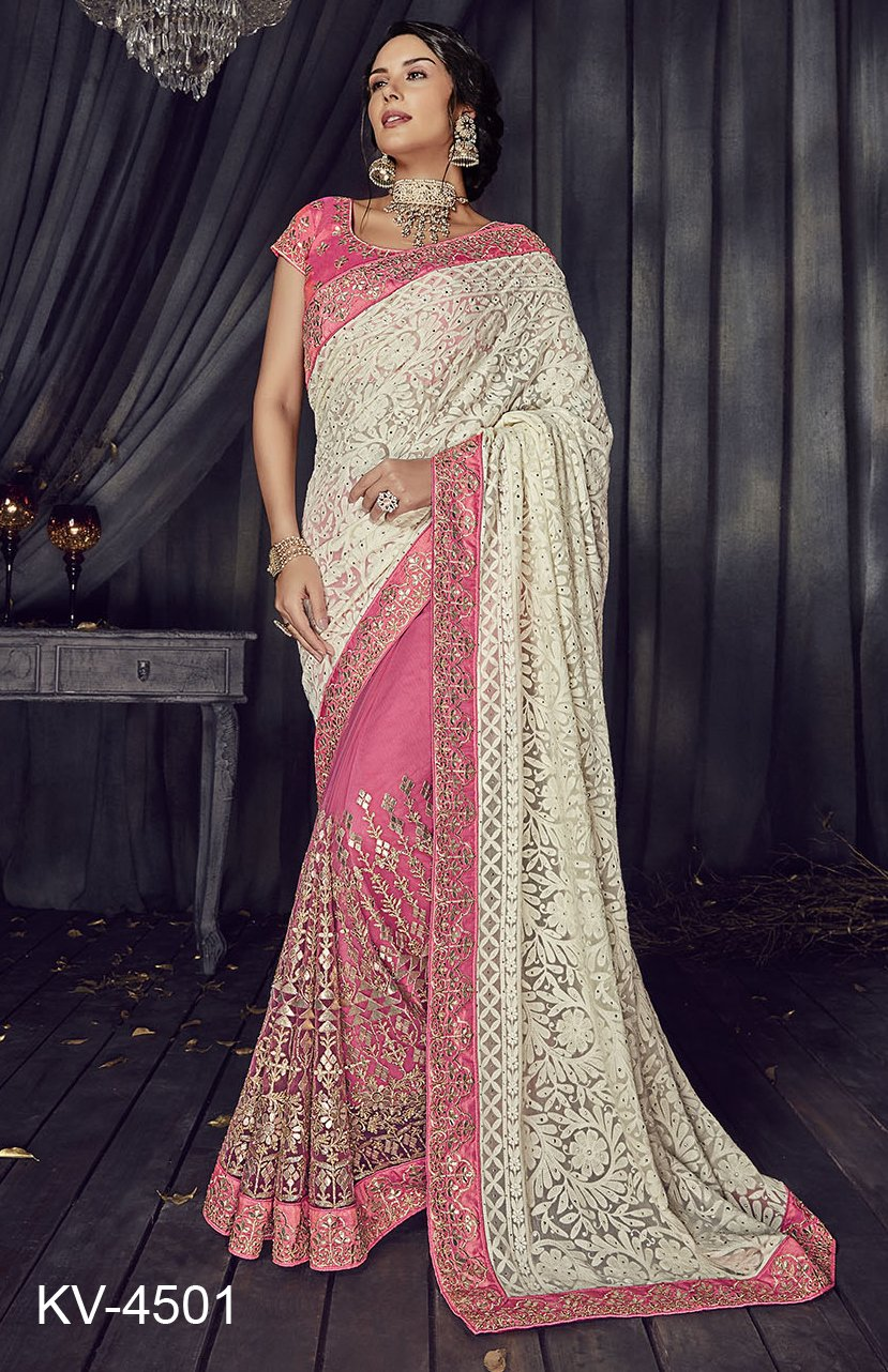 Gorgette and Net Saree in Pink and White Color SR000052