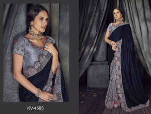 Velvet and Net Saree in Navy Blue and Grey Color SR000056