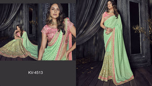 Gorgette and Net Saree in Teal Green Color SR000063