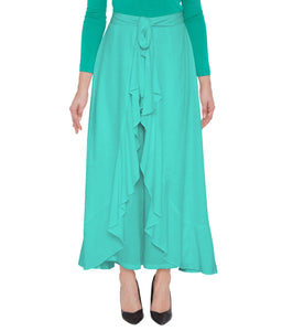 Poly Crepe  Plazo  in Teal Green Color  WMB000025