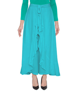Poly Crepe  Plazo  in Teal Blue Color  WMB000024
