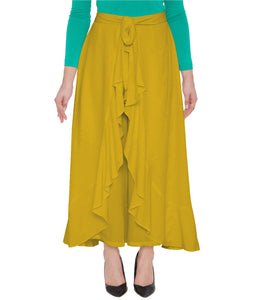 Poly Crepe  Plazo  in Yellow Color  WMB000022