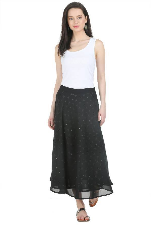 Gorgette Skirt  in Black Color  WMB000009
