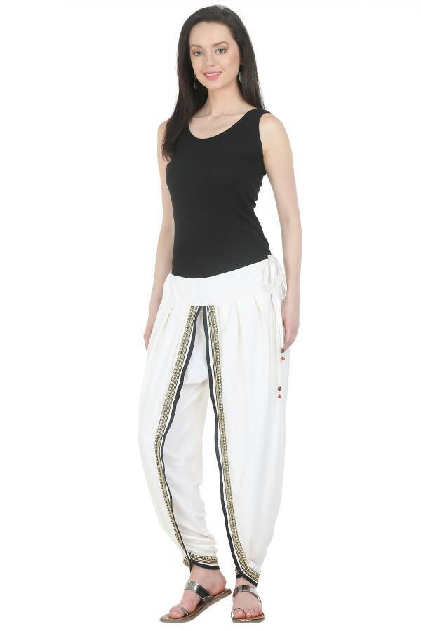 Rayon Dhoti Pant  in White Color  WMB000011