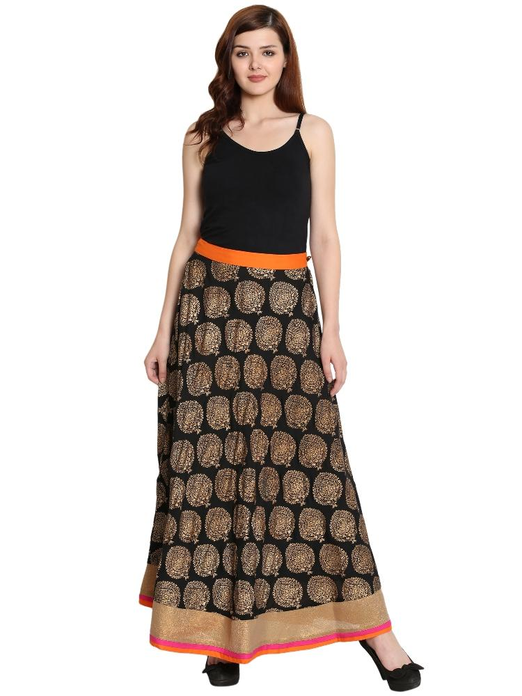 Cotton Skirt  in Black Color  WMB000002