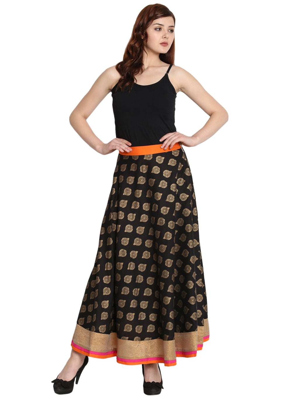 Cotton Skirt  in Black Color  WMB000001