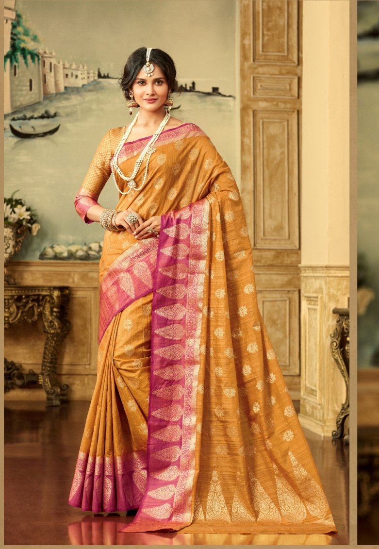Brocade Silk Saree in Mustard Color SRSTH000067