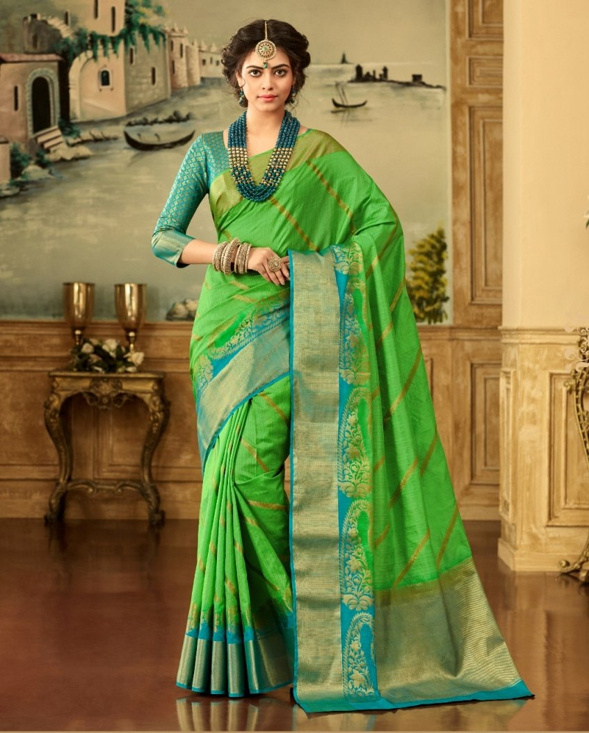 Brocade Silk Saree in Green Color SRSTH000070