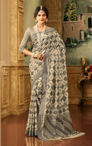 Brocade Silk Saree in Grey Color SRSTH000071