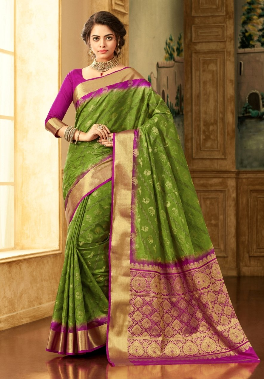 South Silk Saree in Green Color SRSTH000073