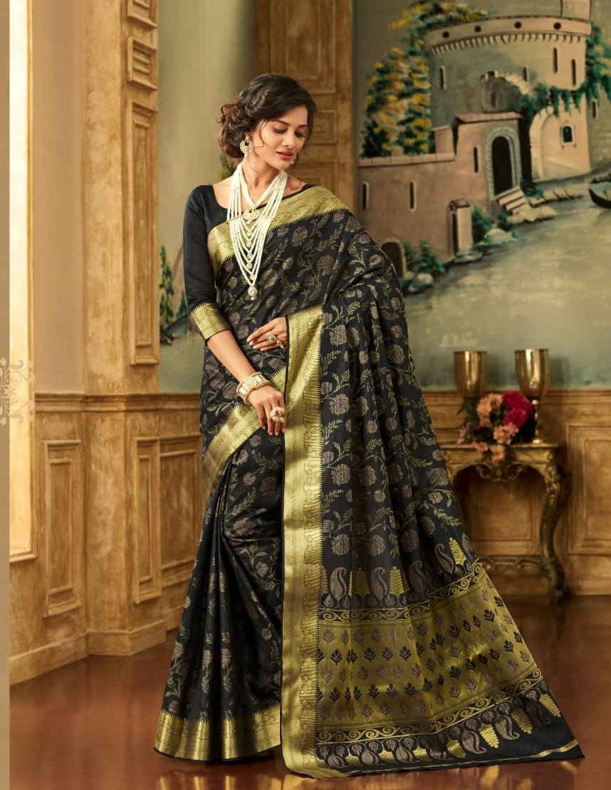 South Silk Saree in Black Color SRSTH000075