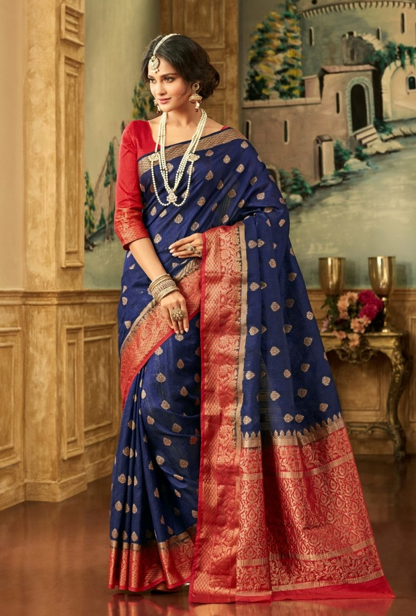 South Silk Saree in Blue Color SRSTH000077