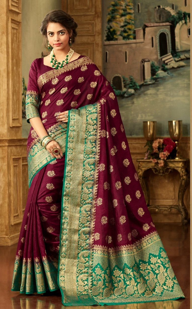 South Silk Saree in Maroon Color SRSTH000078