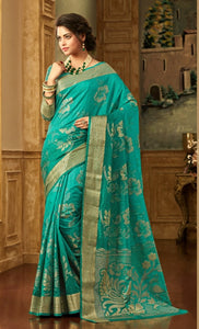 South Silk Saree in Teal Green Color SRSTH000079