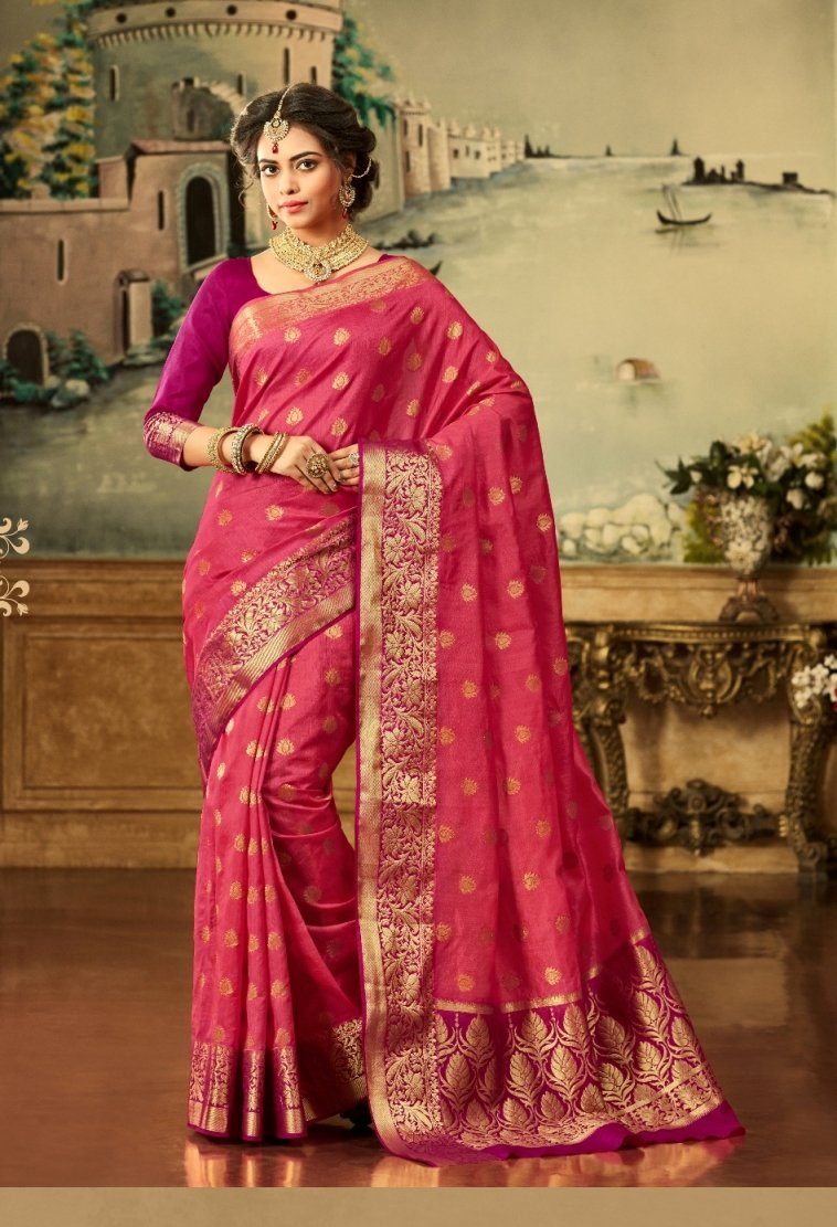 South Silk Saree in Pink Color SRSTH000080