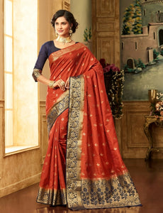 South Silk Saree in Orange Color SRSTH000081