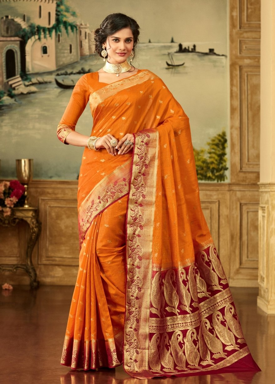 South Silk Saree in Mustard Color SRSTH000082