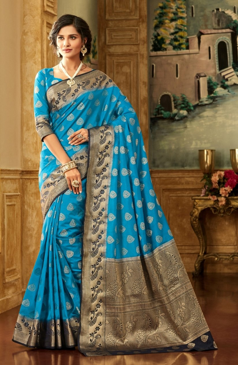 South Silk Saree in Teal Blue Color SRSTH000083