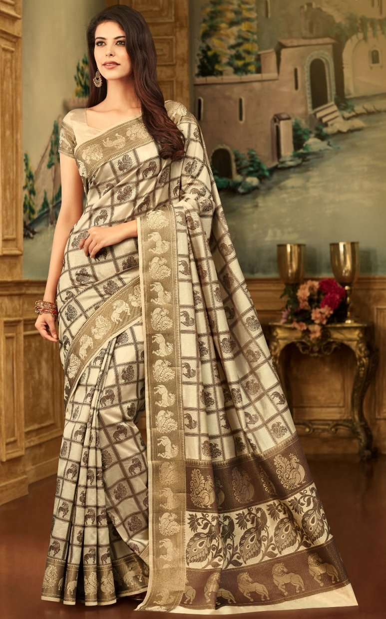 South Silk Saree in Off White Color SRSTH000084