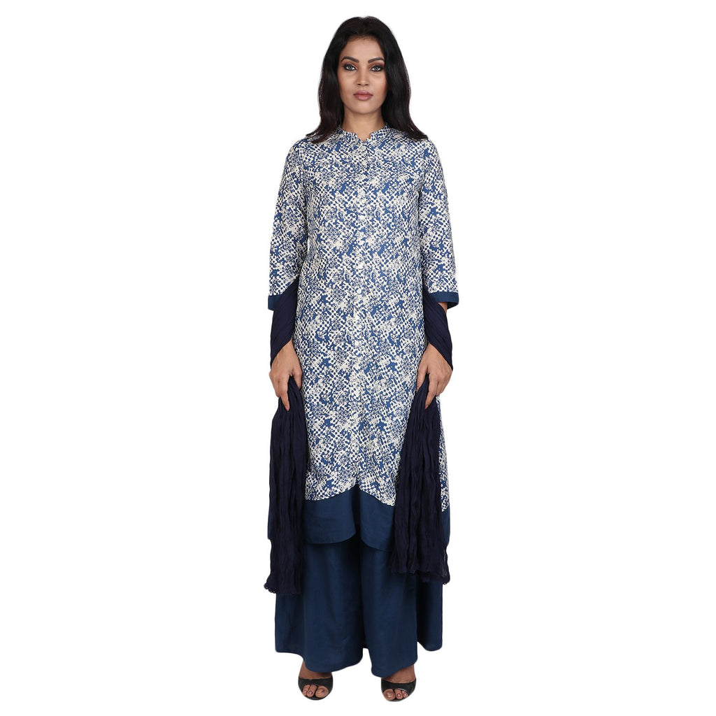 Cotton Readymade Suit in  Blue and White Color  WMSU00268