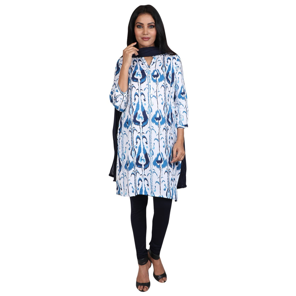 Cotton Readymade Suit in  White and Blue  Color  WMSU00276