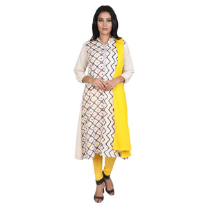 Cotton Readymade Suit in  Off White  Color  WMSU00277