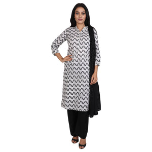 Cotton Readymade Suit in  White and Black  Color  WMSU00279
