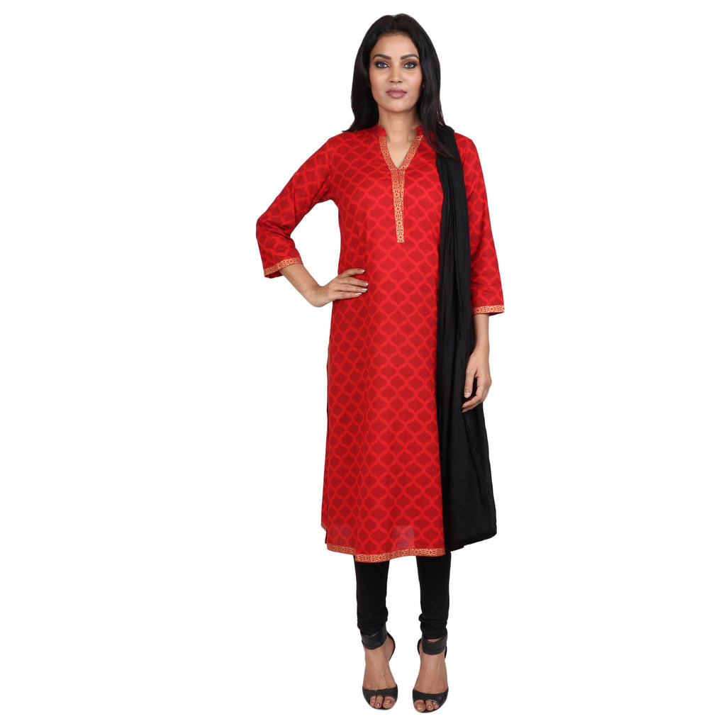 Cotton Readymade Suit in  Red  Color  WMSU00282