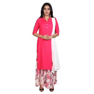 Rayon Suit in  Pink  Color  WMSU00293