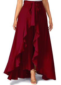 Poly Crepe  Plazo  in Maroon Color  WMB000028