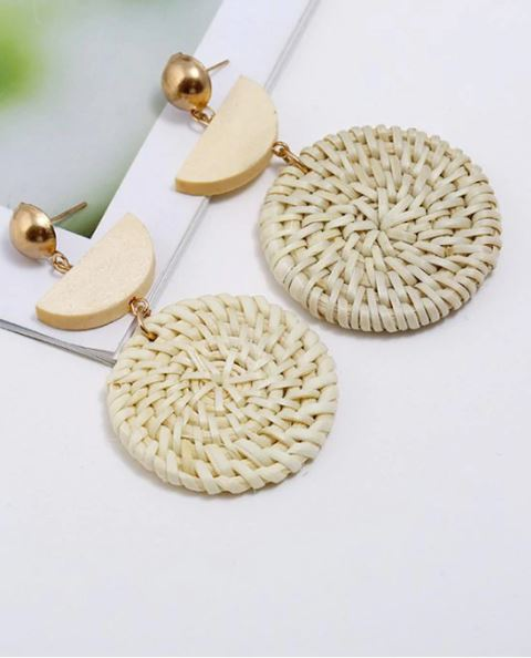Round Weave Rattan Earrings