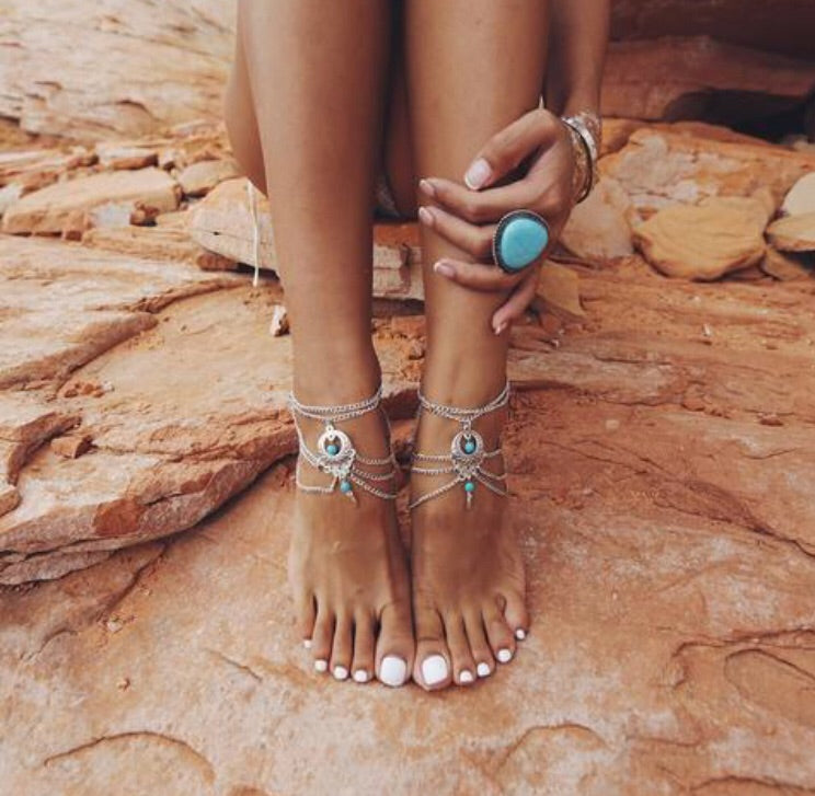 boho anklet turquoise anklet. boho anklet, anklets , turquoise anklet