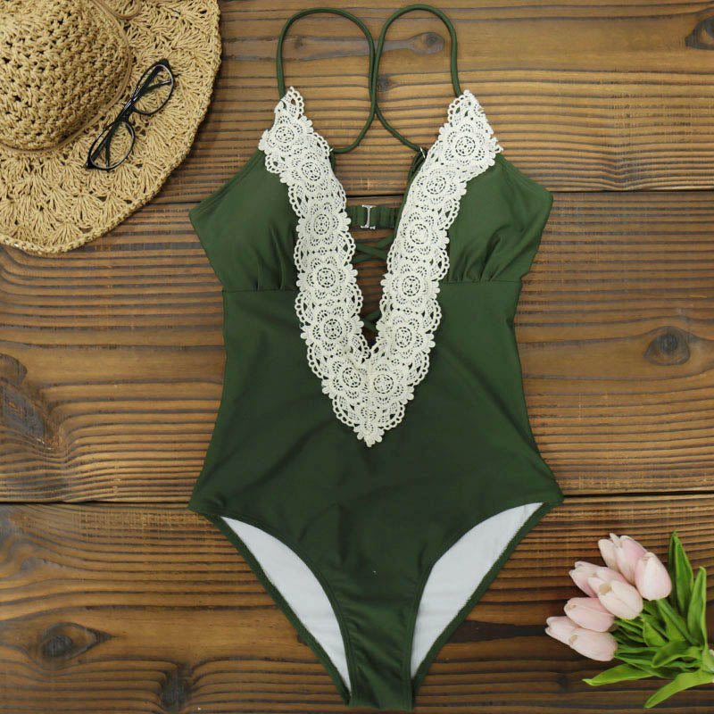 One Piece Swimsuit with Lace - 5 styles and prints available