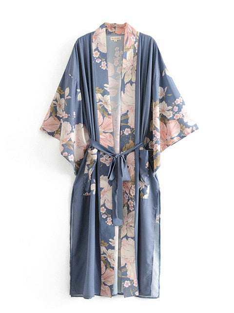 Long Kimono Robe with Batwing Sleeves, floral kimono, boho kimono, long kimono cardigan