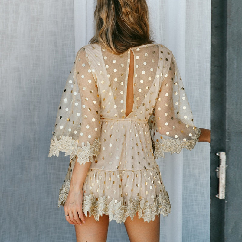 Mesh Semi Backless Embroidered Dress