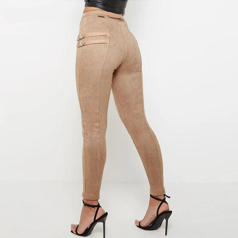 suede khaki tan pants with buckles. Suede skinny leg pant . suede high waist pants