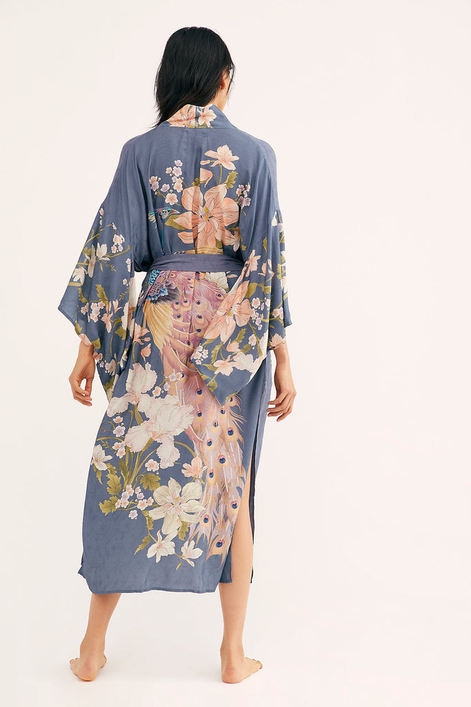 Long Kimono Robe with Batwing Sleeves