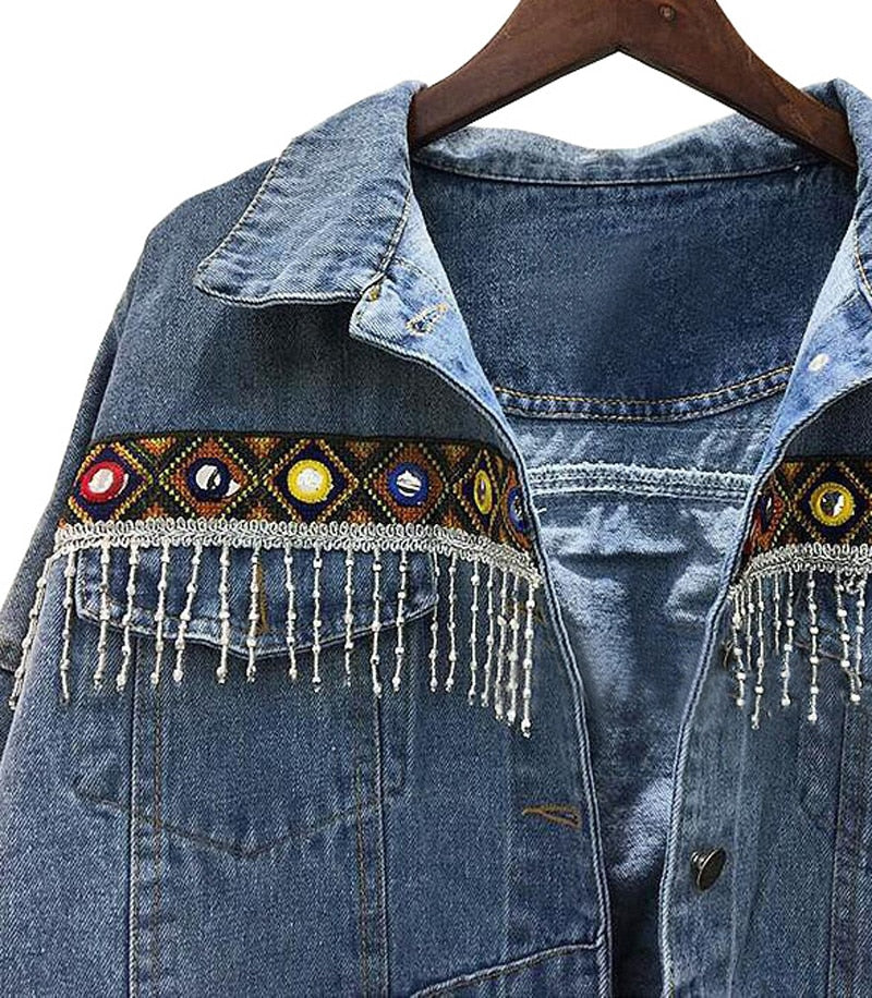 Embroidered Tassel Boho Denim Jacket , boho denim jacket ,  denim jacket with tassels