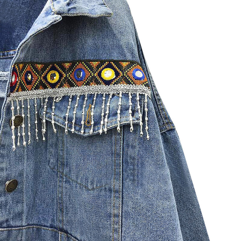 Embroidered Tassel Boho Denim Jacket