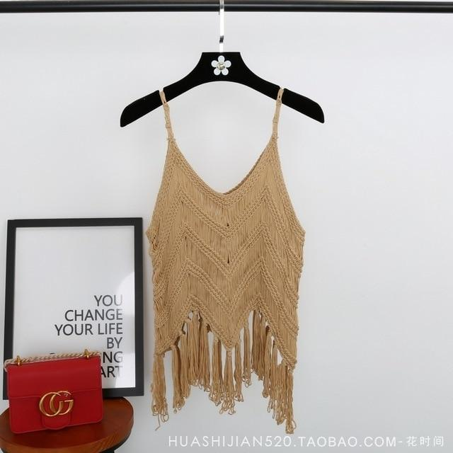tan tassel top, boho top , top with tassels