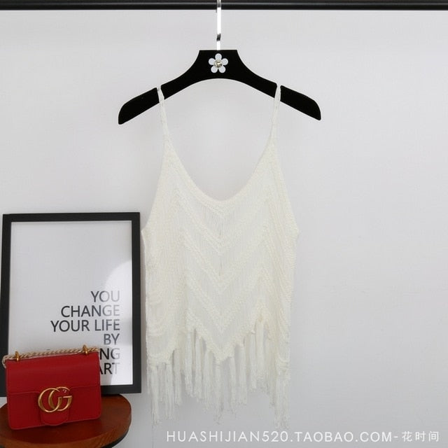 white top with tassels. White knitted top with tassels. white boho top with tassels