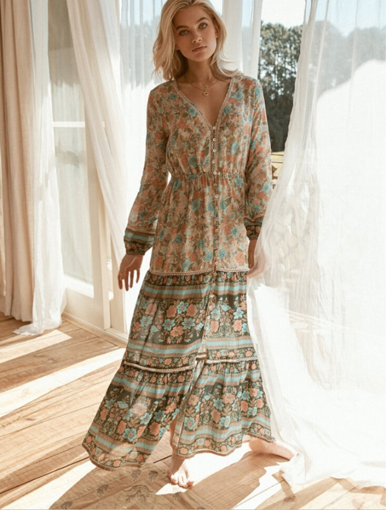 Long Sleeve Boho Gypsy Dresses -  multiple prints