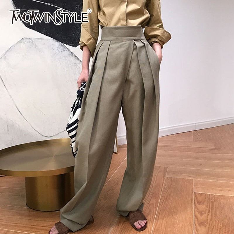 High Waist Loose Pants - Coffee & Black