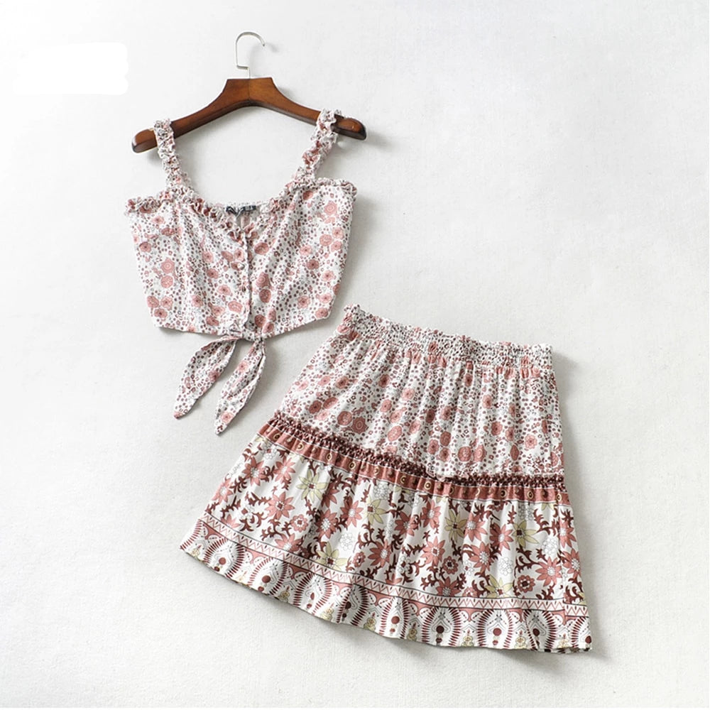 Two Piece Set - Mini Ruffled skirt & top