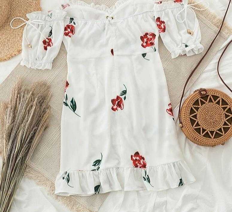 white off shoulder dress. white off shoulder boho dress. Off shoulder floral dress