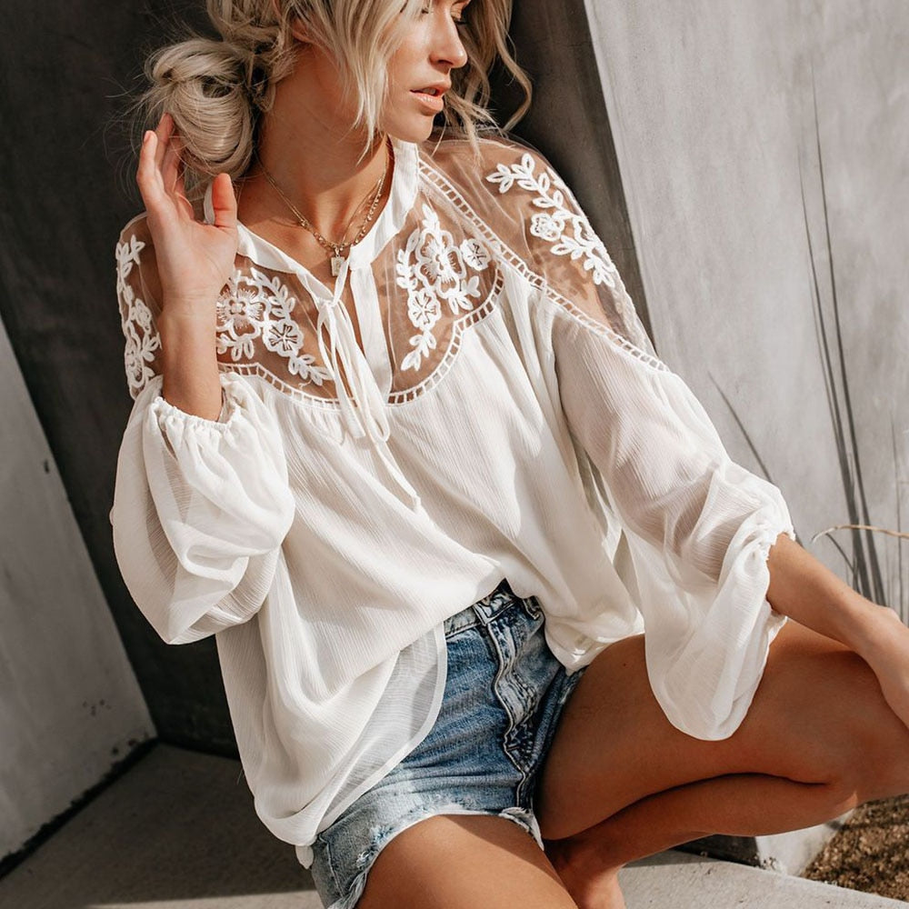 Lace Boho Blouse - 4 colours