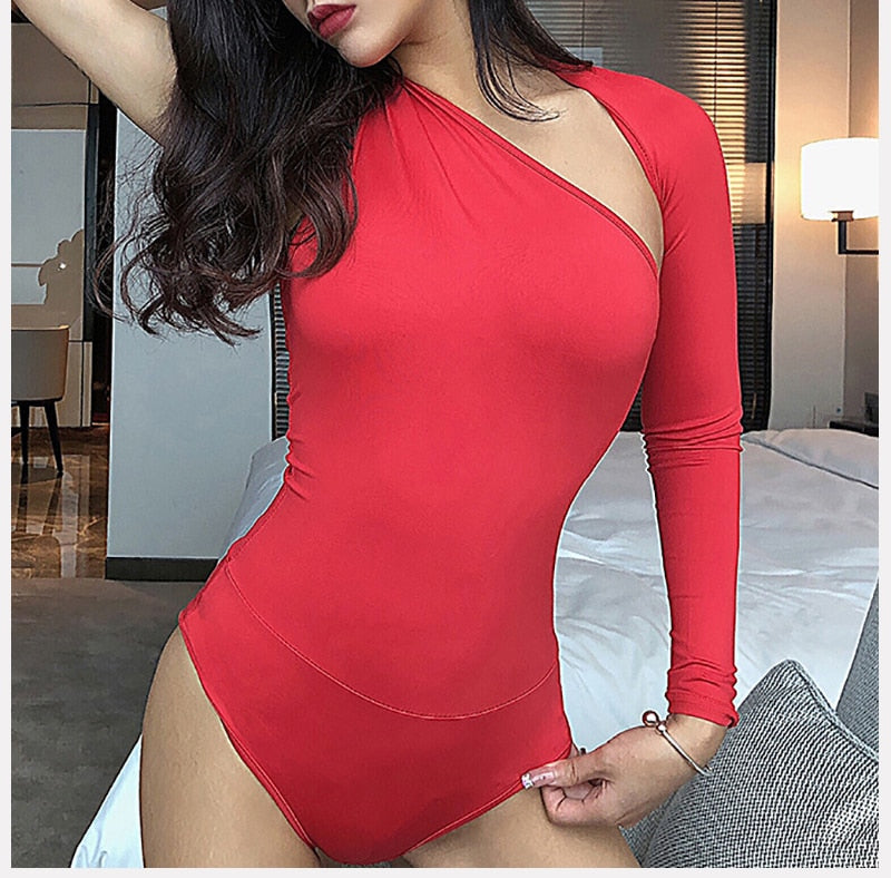 one shoulder top , one shoulder body suit , one shoulder bogo top, red one shoulder top