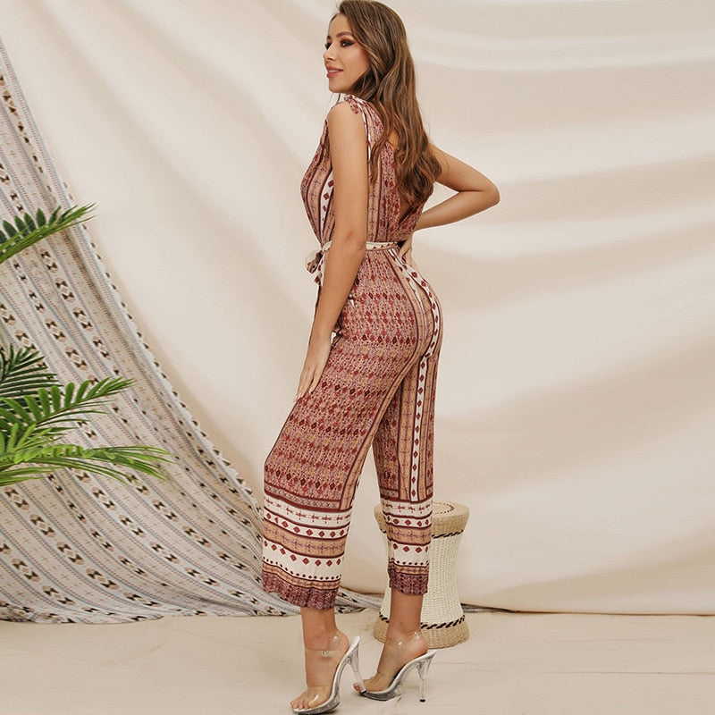 Boho Tie Waist Backless Jumpsuit