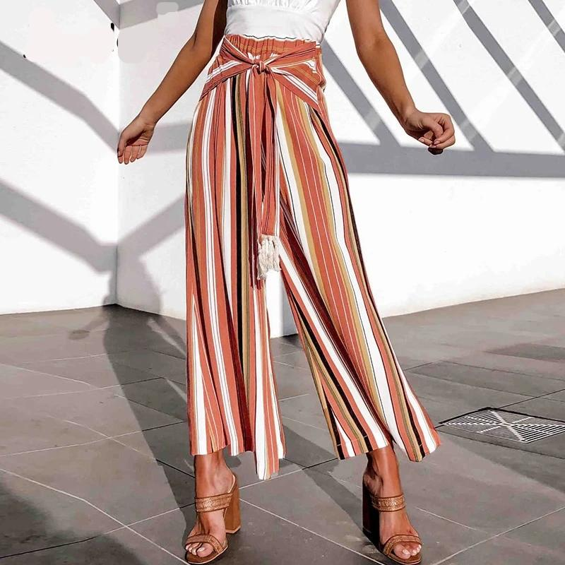 spit stripe pants. wide leg stripe pants with split. Split Wide Leg Stripe Pants with Tassel