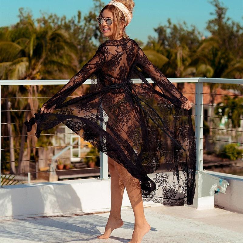 Black Lace Maxi Dress Cardigan, black lace kimono, black lace kimono cover up, lace cover up, lace kimono